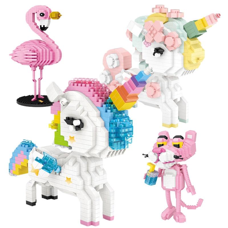 Детский конструктор LOZ, единорог, тигр, фламинго, кошка, красивый Дамский олень, подходит для девочек старше 6 лет
