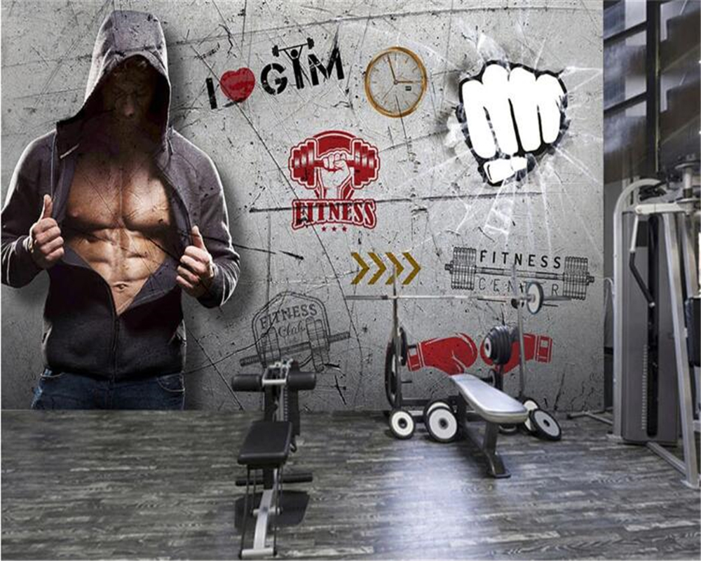 Beibehang Custom Wall Papers Home Decor Behang Large-scale Creative Personality Gym Wall Brick Wallpaper 3d Papel De Parede 3d
