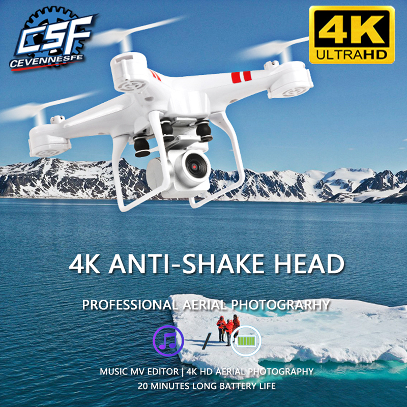 2020 novo zangão 4k câmera hd wifi transmissão fpv zangão pressão de ar fixo altura quatro-eixo aeronaves rc helicóptero com câmera