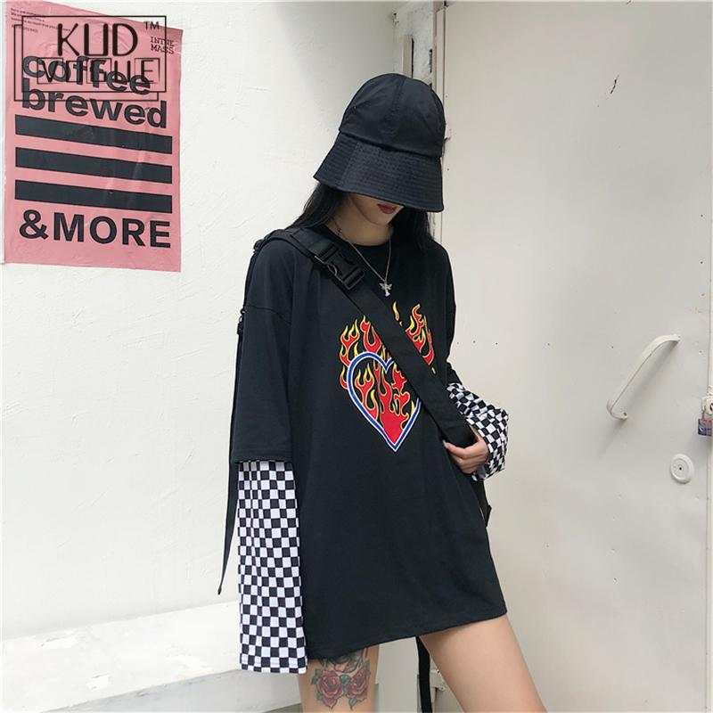 Autumn Goth Checkerboard Long Sleeve Patchwork Tops Women Black Loose Sweatshirt 2019 Casual Fashion Tops Plaid Pullover Women