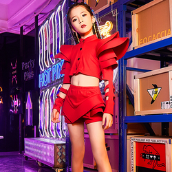 Girls Jazz Dance Costume Children Hip Hop Red/White Set Kids Modern/Street Dance Performance Outfit Catwalk Show Clothes DQL1888