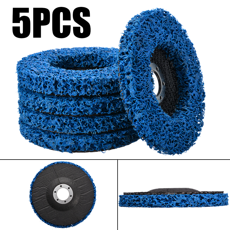 5Pcs 125mm Cleaning Disc Rust Remover Grinding Wheel For Angle Grinder Tools For Metals/Fiberglass/Stone/Wood