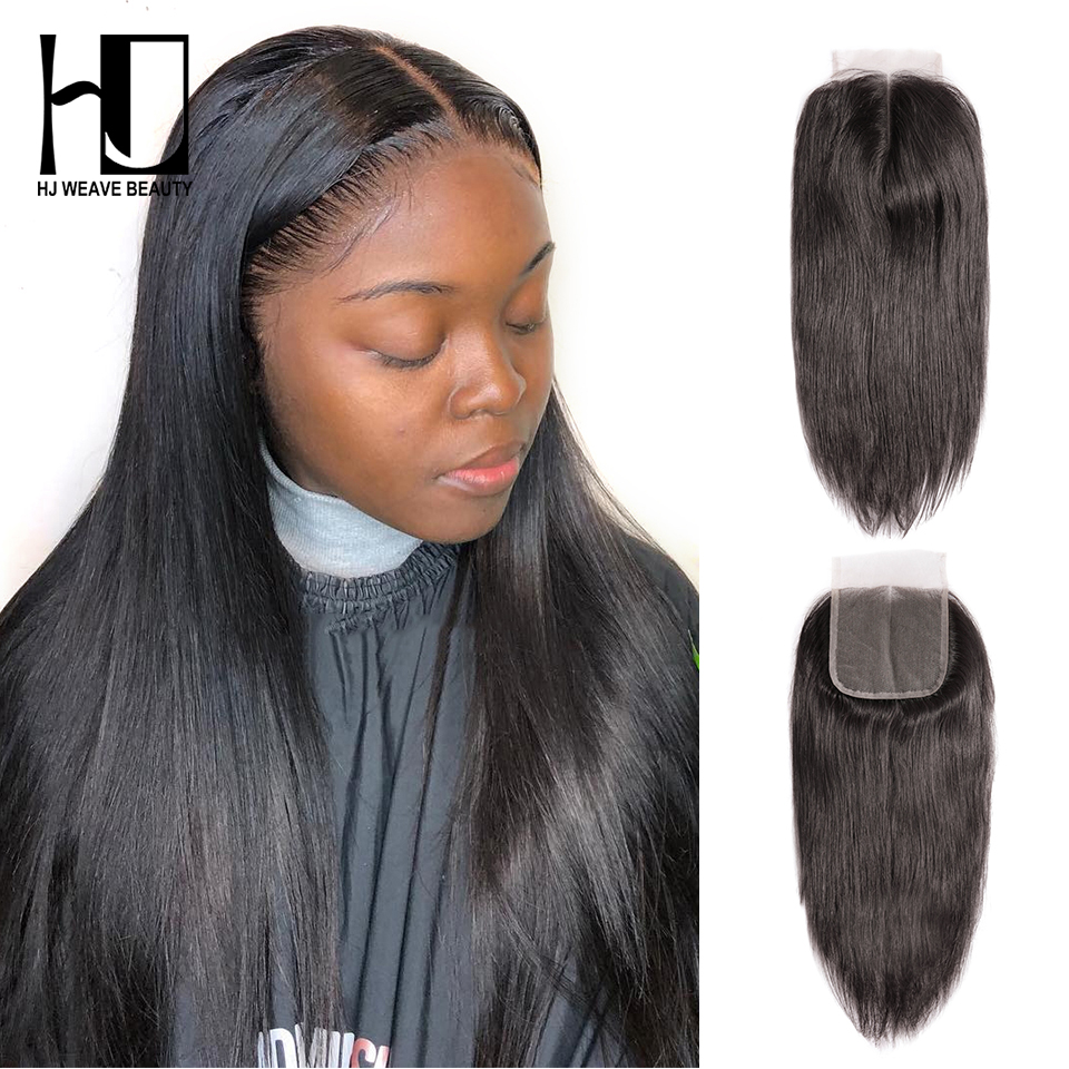 4x4 Lace Closure Brazilian Straight Hair Natural Color 100% Remy Human Hair HD Swiss Thin Lace Closure HJ WEAVE BEAUTY