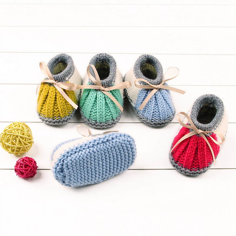 Fashion Newborn Baby Boys Girls Winter Warm Shoes Knitting Boots Socks Shoes Covers Kids Baby Shoes