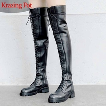 Equestrian Boots Krazing-Pot L16 Over-The-Knee-Boots Med-Heels Cross-Tied Daily-Wear