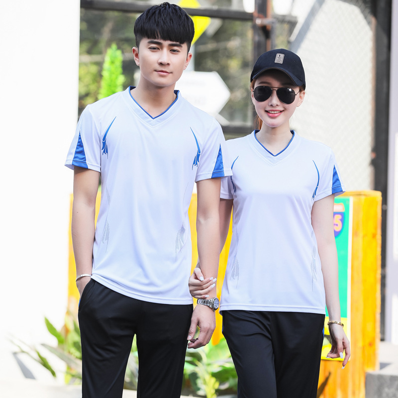 Customizable Shuttlecock Set Men And Women-V-neck Couples Short Sleeve Game Sports Clothing Breathable Quick-Dry Printed Words N
