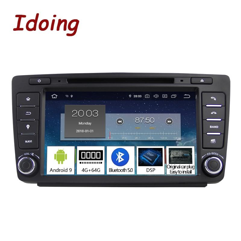 Idoing Android 9.0 4G+64G 8Core 2Din Steering-Wheel For Skoda Octavia 2 Car Multimedia DVD Player 1080P HDP GPS+Glonass 2 din