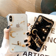 3D Moon Glitter Starry Cat sky stars Phone Cases For iPhone XS Case XR Max 6 6s 7 8 plus Soft Silicon Luxury Bling Back Cover