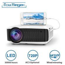 Touyinger t4 mini projetor led 1280x720 lcd portátil beamer usb cinema em casa (opcional com fio sync display para tablet telefone)