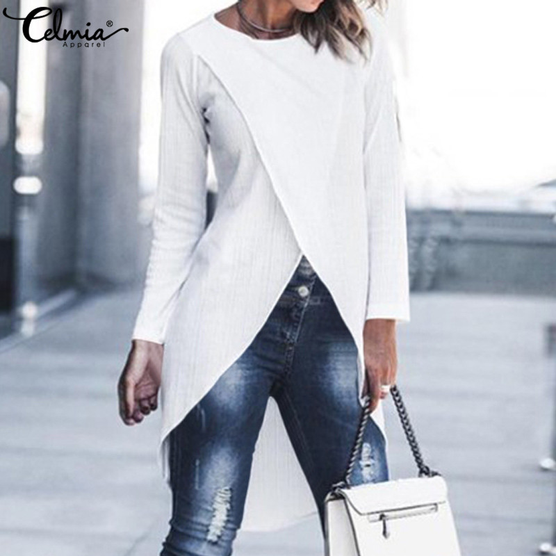 Top Fashion Women Long Blouses 2020 Autumn Asymmetrical Knitted Shirts Celmia Female Casual Solid Blusas Femininas Plus Size 5XL