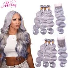Ms Liefde Grijs Haar Bundels Met Vetersluiting Grijs Body Wave Braziliaanse Remy Human Hair 3 4 Bundels Met Kant sluiting 26 28 30 Inch