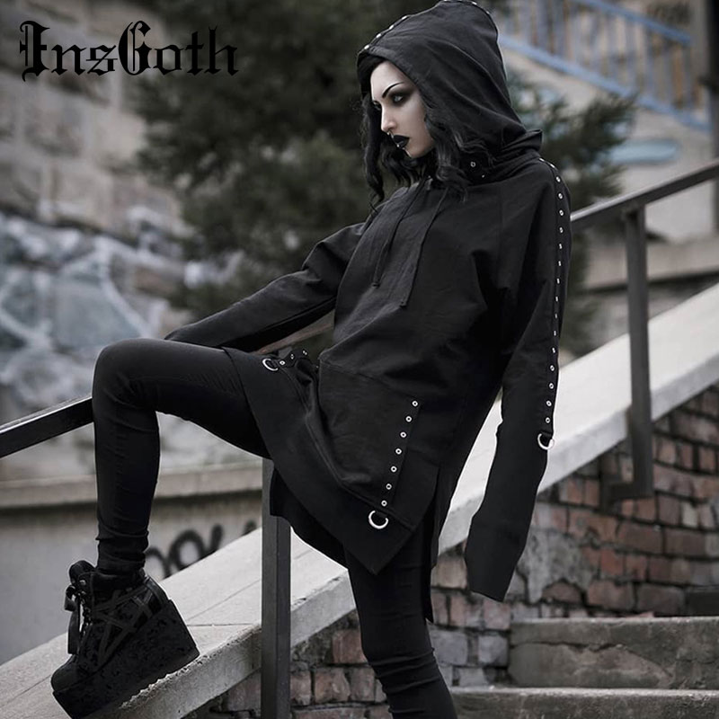 InsGoth Women Hoodies Gothic Punk Streetwear Hooded Sweartshirt Casual Long Pullover Female Black Loose Long Sleeve Hoodie
