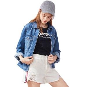 Image 4 - をセミール 100% 綿ショートデニムジャケットの女性の襟ガールボーイフレンドデニムジャケット胸ポケット傾斜ポケットシックなスタイル