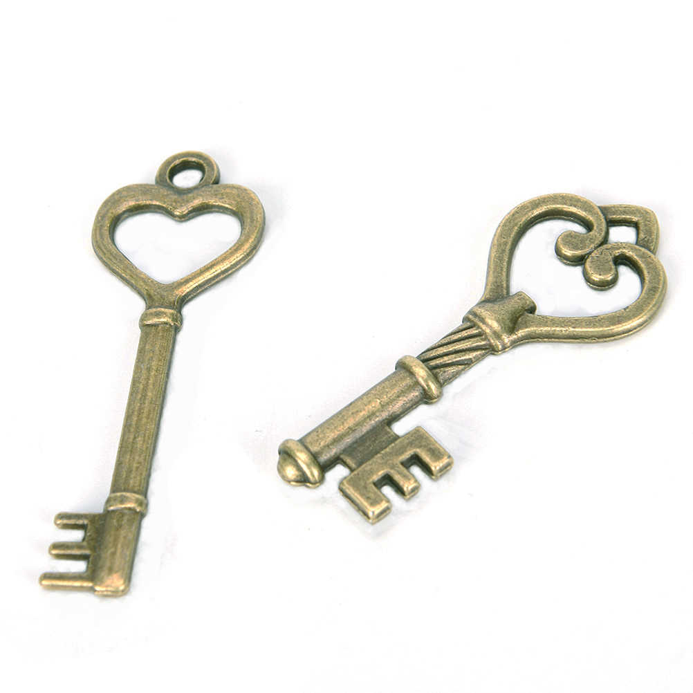 1 Juego de llaves esqueleto de 40 antiguo Vintage antiguo aspecto bronce de lujo corazón arco COLLAR COLGANTE