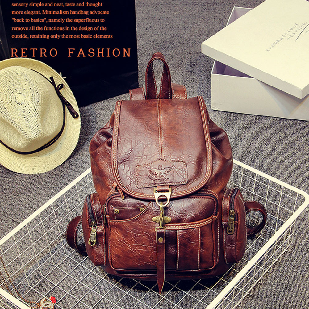 Women Travel Top Handle School Students With Zipper Hook Closure Large Capacity Multi Pocket Fashion Casual PU Leather Backpack
