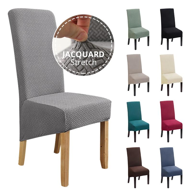Jacquard extra grande xl cadeira de jantar capa estiramento elastano elástico longo voltar caso slipcover cadeira para cadeiras cozinha banquete