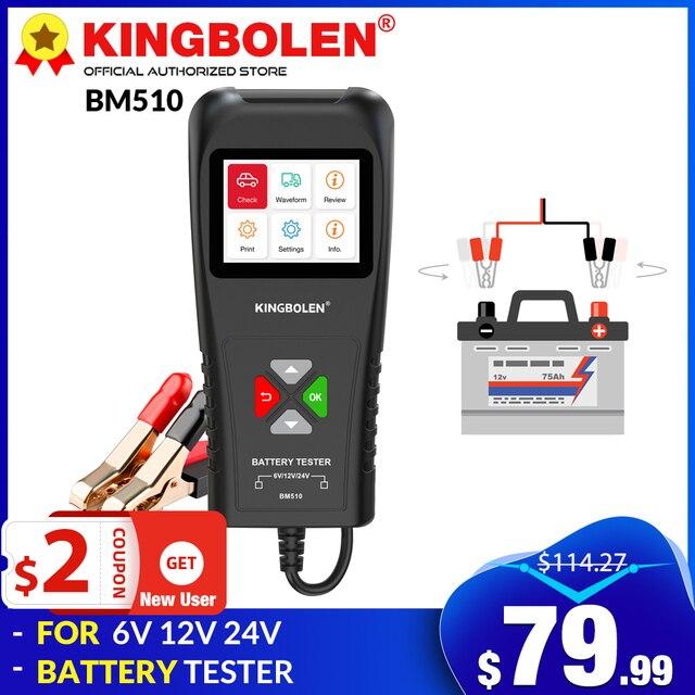 KINGBOLEN BM510 Auto Batterie Tester Mit Bildschirm 6V 12V 24V Lkw Motorrad Reversible Zugang Clip Ladespannung test Werkzeug