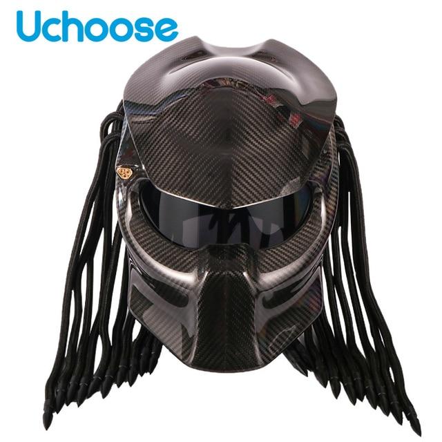 Carbon Fiber Full Face Helmets Motorcycle Predator Helmet Certification High Quality Casco Depredador Clear Colorful Lens