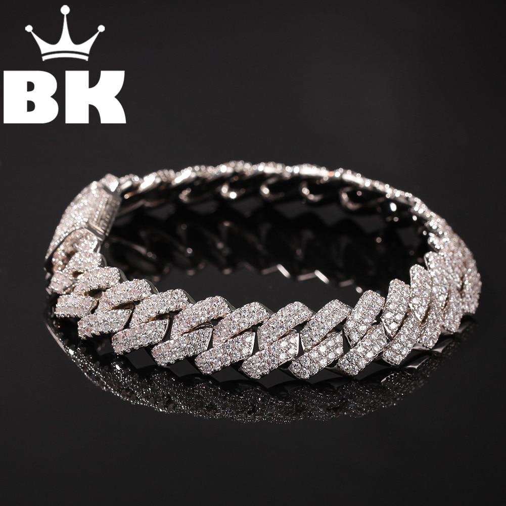 13mm Copper 2Row form Curb Cuban Bracelet Iced Out CZ Bracelet Gold Silver Color For Men Luxury Box Clasp Drop Shipping
