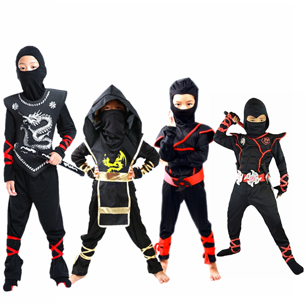 Ninja Costume Ninjago Cosplay Assassin Party костюм ниндзя Disfraz De Ninja Boy Girl Warrior Stealth Purim Kids