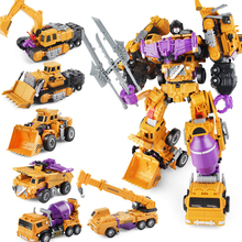 Transformation King Kong 6 In 1 Engineering Truck Gt Hercules Bulldozer Truck Excavator Action Figure Robot Model Children Gift