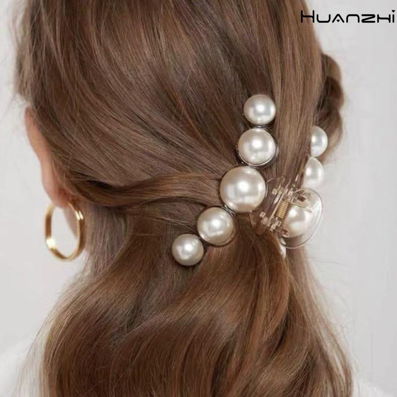 HUANZHI 2020 Новинка Hyperbole крупный искусственный жемчуг акриловый зажим для головы аксессуары для волос для женщин Макияж для укладки волос зако...