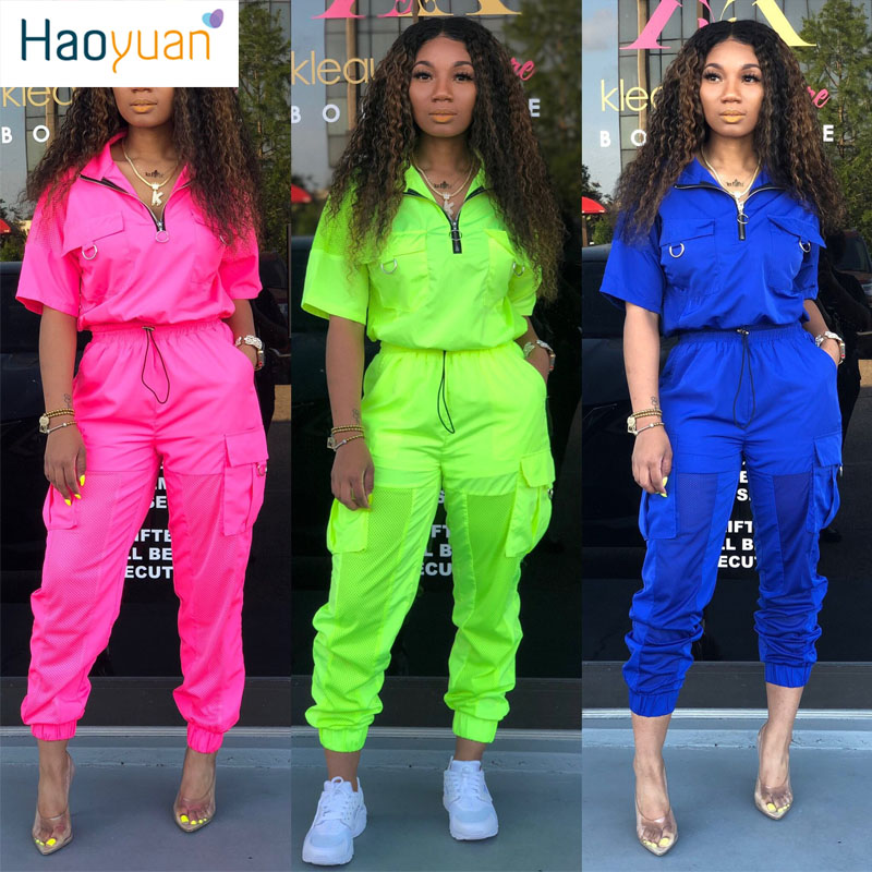 HAOYUAN Two Piece Set Festival Clothes Neon Crop Top+Pant Sweat Suit Matching Sets 2 Piece Summer Outfits For Women Tracksuit