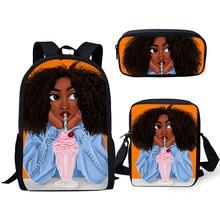 HaoYun Fashion Kids Backpacks Black African Girls Pattern Students School Bags Afro Arts Designer Childrens Book Set