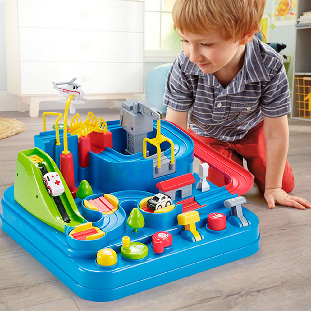 Portable Educational Cool Gift Children Toy Set Transport Railway Racing Stimulate Interest Interactive Funny Car Adventure Game