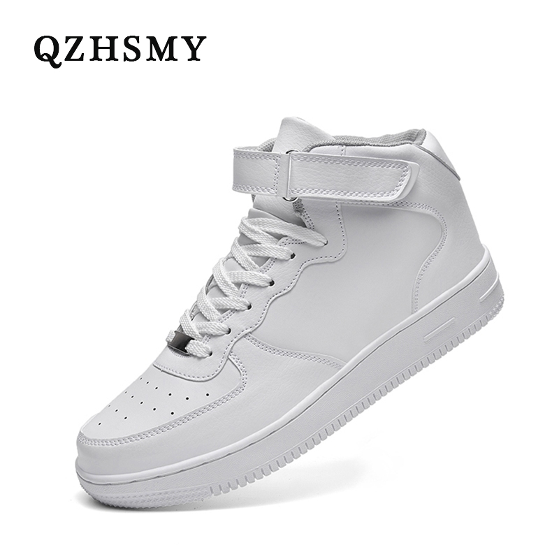 QZHSMY 2020 черная повседневная мужская обувь, кроссовки для тенниса, удобная Высококачественная нескользящая обувь на шнуровке, цвет черный, размера плюс 48, белая Вулканизированная обувь Повседневная обувь      АлиЭкспресс