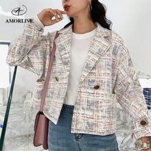 AMOR LIVE Vintage Female 2019 Autumn Short Suit Jacket One Buckle Trendy Ladies Long Sleeve Loose Coat Women Blazers