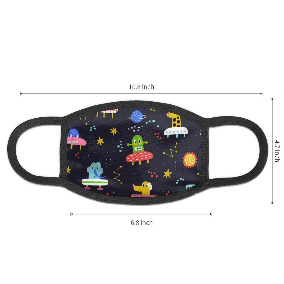 NOISYDESIGNS Unisex Cartoon Graffiti Print Kawaii Face Half Mouth Mask Fashion Cute Breathable Warm Windproof Anti-Dust Masks