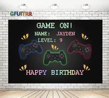 Gfuitrr play station controlador fotografia pano de fundo da foto do aniversário preto nível do jogo vinil foto estande adereços