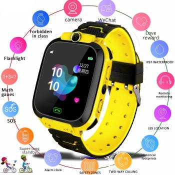 Kuulee Q12B Smart Watch for Kids Smartwatch Phone Watch for Android IOS Life Waterproof LBS Positioning 2G Sim Card Dail Call 1