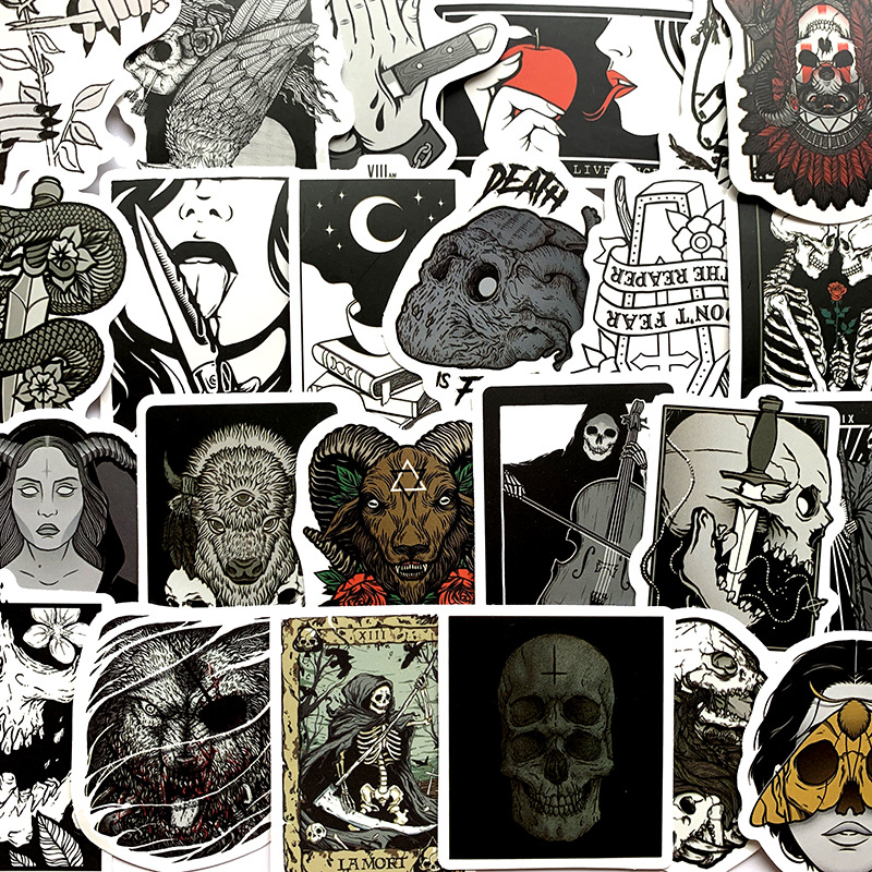 50Pcs/Lot 2020 Originality Skeleton Devil Opp  Waterproof Stickers For Luggage Laptop Bike Motorcycle Phone Car Case Decal