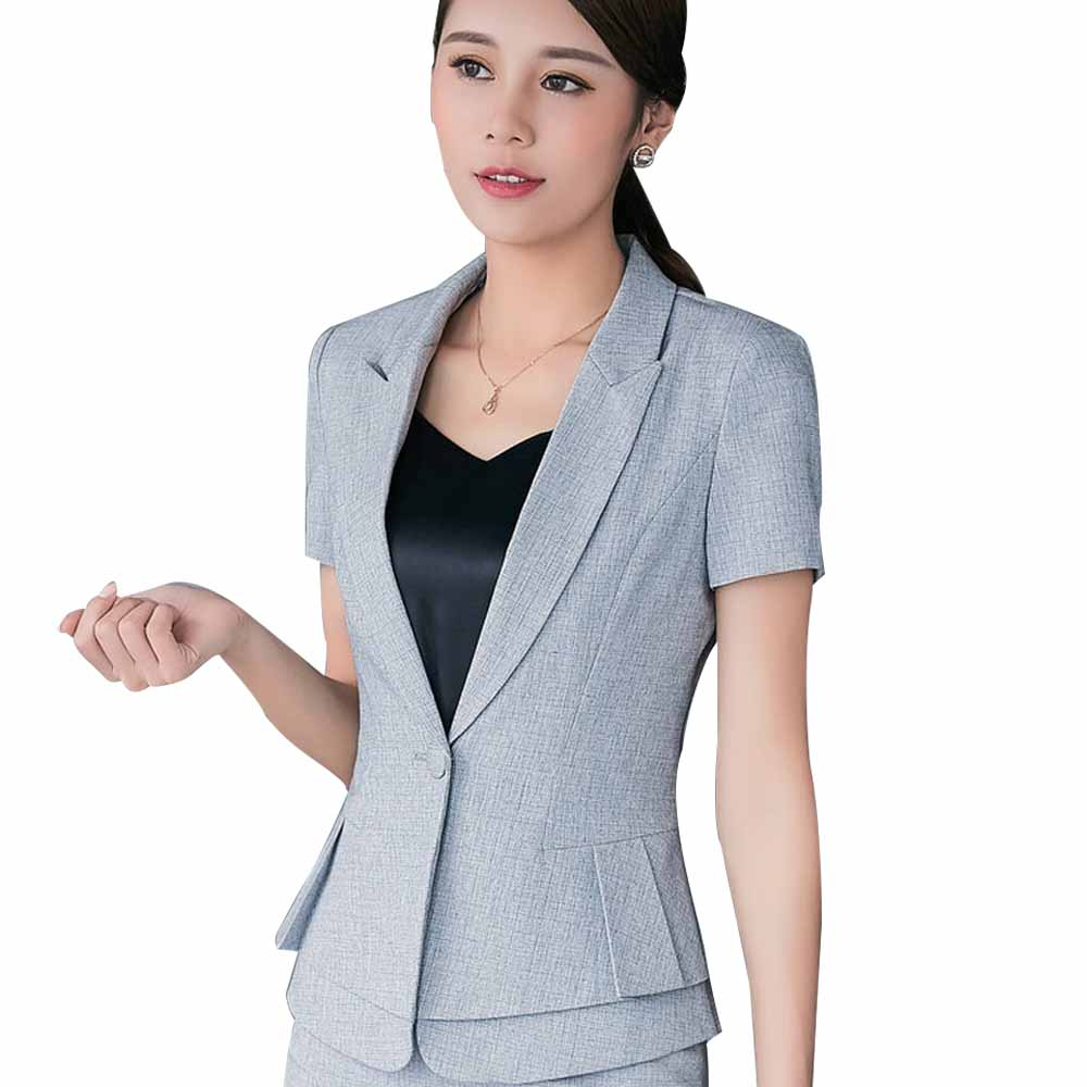 Summer Elegant Women Blazer Ol Formal Slim Short Sleeve Jacket Office Lady Plus Size Casual ClothingNotched Patchwork Outwear