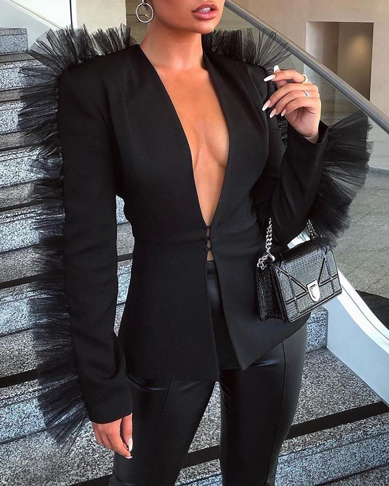 Solid Mesh Insert Design Deep V Blazer Coat Women Elegant Ol Black Blazer Jackets Winter 2019 High Streetwear Outwear