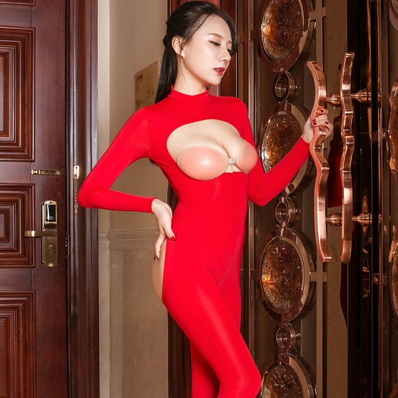 High Elasticity Slim Tight Erotic Overalls Sexy Smooth Women See Through Jumpsuit Adult Club Sex Party Hollow Out Porn Bodysuits