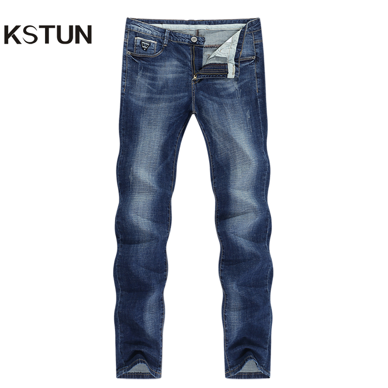 KSTUN Men Jeans Famous Brand 2020 Slim Straight Business Casual Dark Blue Thin Elasticity Cotton Denim Pants Trousers Pantalon