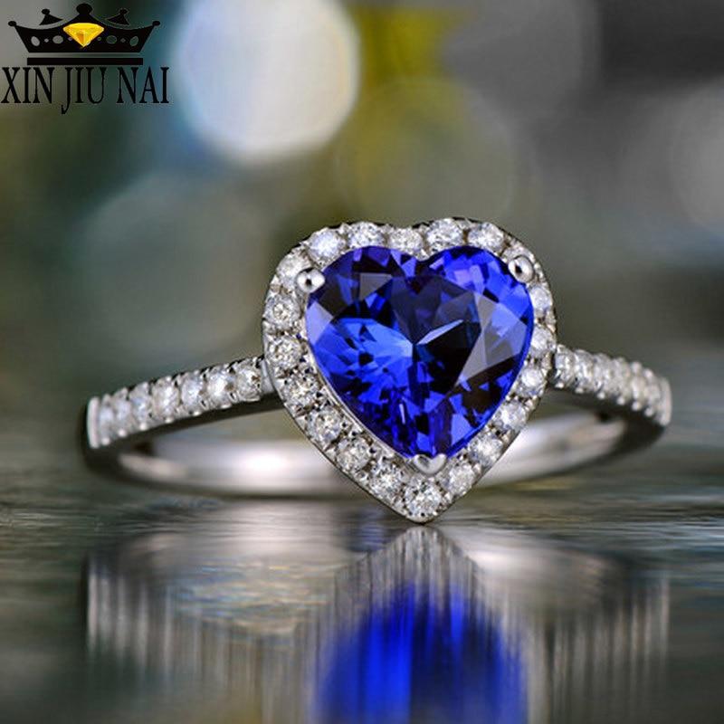 Женское Обручальное кольцо в виде сердца, красный цвет, серебро 925 пробы, белый/синий цвет