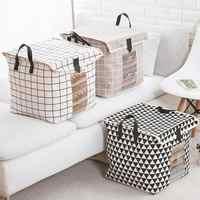 Bolsa de almacenamiento plegable de lino y algodón, bolsa para Manta, suéter, caja de almacenamiento de ropa Extra grande, 34x31x31CM