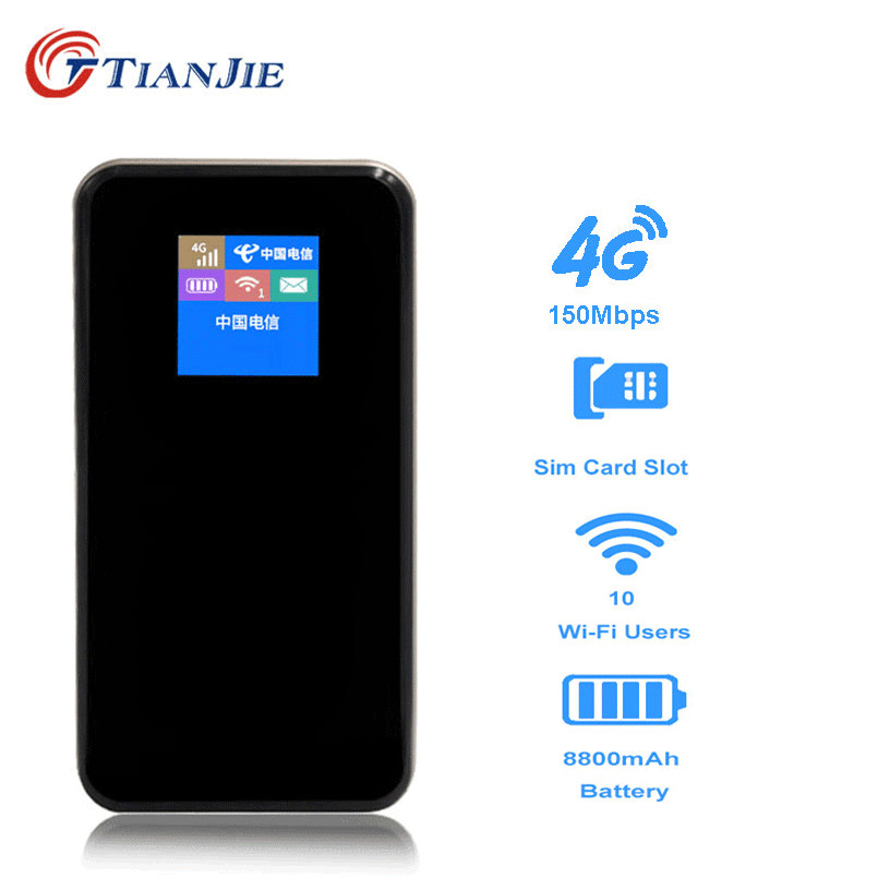 TIANJIE 3G/4G Wifi Router Car Mobile Wifi Hotspot Wireless Power Bank Broadband 150Mbps Mifi Unlocked Modem With Sim Card Slot
