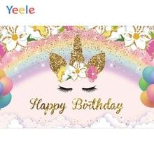 Yeele Unicorn Backdrop Flower Rainbow Pink Baby Shower Kids Birthday Party Custom Photography Background Vinyl For Photo Studio