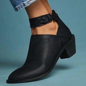 Heflashor damskie buty ze imitacją zamszu codzienne grube buty na obcasie Zip oddychające damskie wygodne buty Retro wiosenne PU Leather