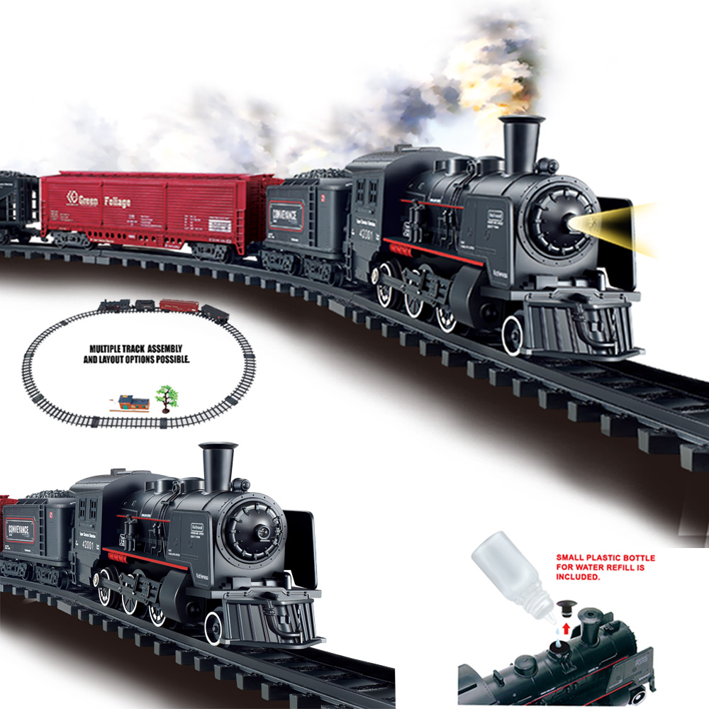 Battery Operated Railway Classical Freight Train Water Steam Locomotive Playset with Smoke Simulation Model Electric Train Toys Diecasts & Toy Vehicles    -