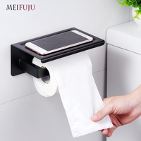 Brushed Mirrored paper holders with Shelf Chrome Polished Black Stainless Steel Toilet Paper Holder Top Place Things Platform