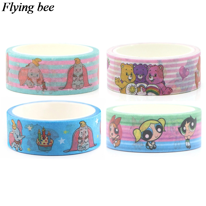Flyingbee 4pcs/set Cartoon Anime Funny Sticker  Adhesive Tape  Paper Washi Tape Kids Gifts X0642