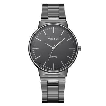 Classic YOLAKO Silver Fashion Men Watch Crystal Glass Stainless Steel Analog Quartz Wrist Watch Brac