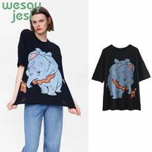 2019 Black NEW Women Tees Summer t-shirt  elephant Anime Top Casual ShortSleeve