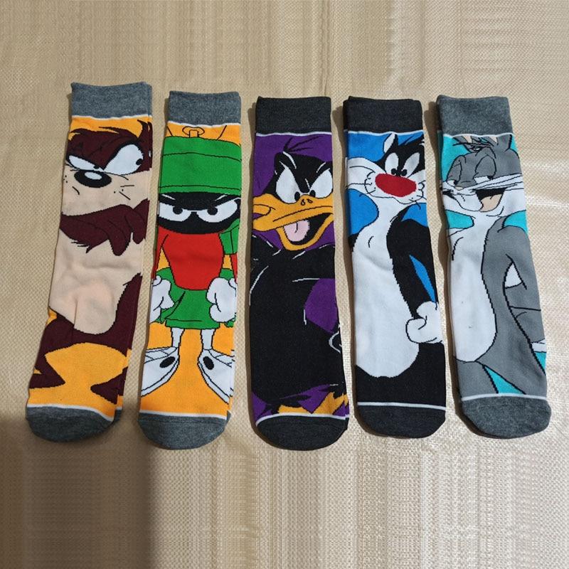 New Funny Cartoon Anime Print Socks Rabbit Duck Fashion Personalized Novelty Men Women Comfort Breathable Blue Gray Cotton Sock